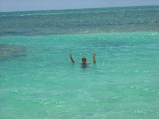 The two tone crystal clear waters were refreshing on a hot sunny day