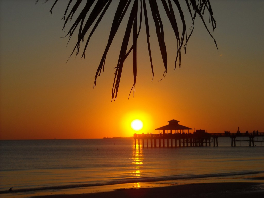 Looking towards the pier from beneath palms as the sun sets over the waters of Fort Myers Beach