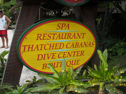 """The sign says it all """"Thatched Cabanas"""""""
