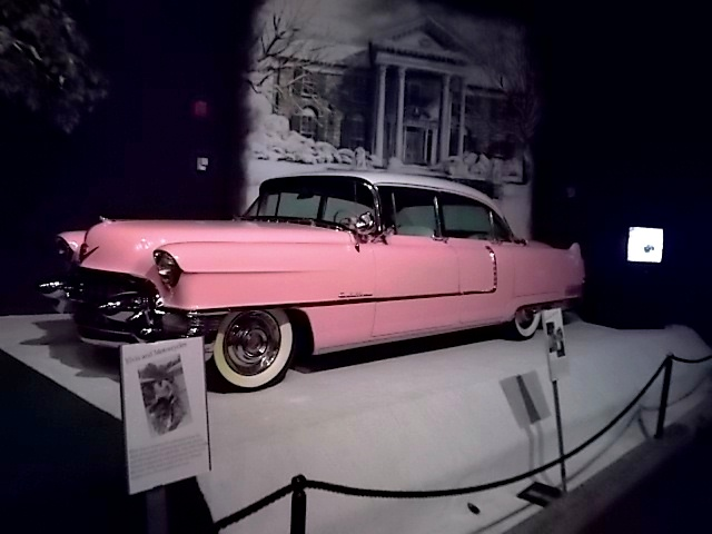 Elvis's 1954 custom painted Fleetwood series 60 Sedan was his first Cadillac. He used it to haul him and his Blue Moon Boys band around to their gigs.