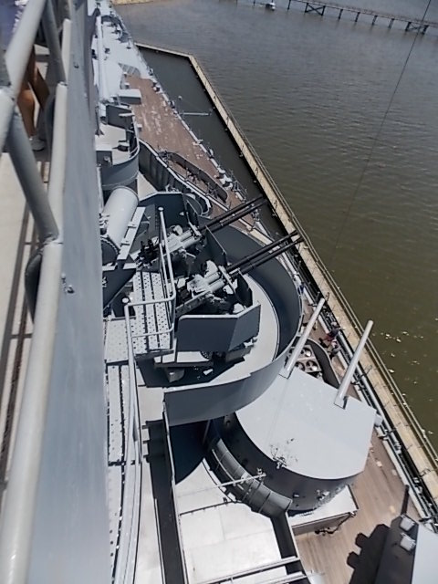 USS AL looking down from tower deck 2